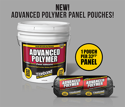Titebond Advanced Polymer Panel Adhesive Pouch Packaging